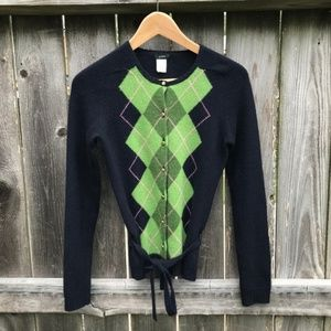 J. Crew Cashmere Blend Argyle Cardigan Sweater